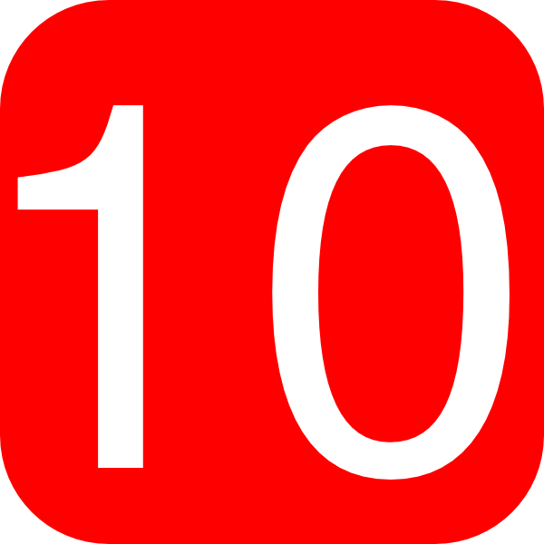 red rounded square with number 10 hi