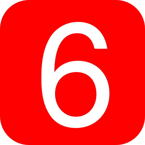 red rounded square with number 6 hi