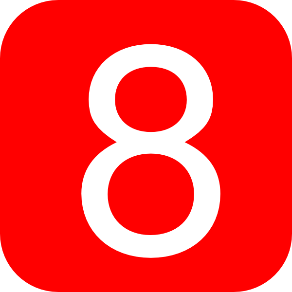red rounded square with number 8 hi