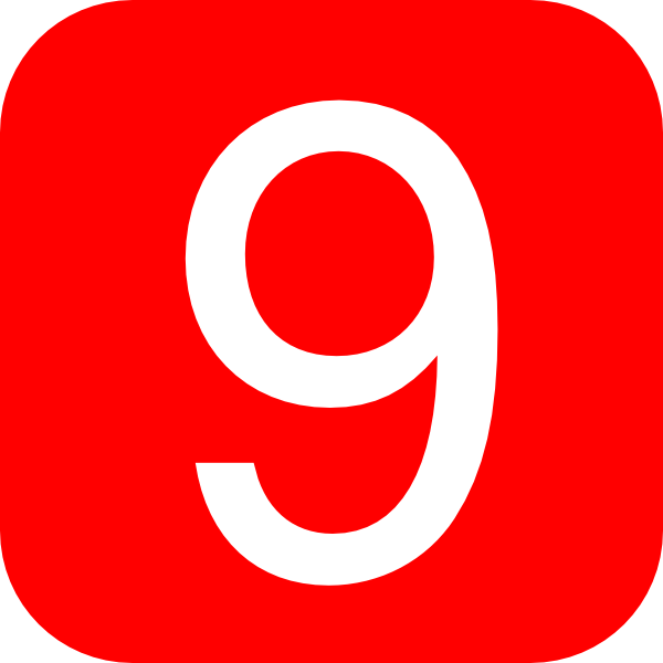 red rounded square with number 9 hi
